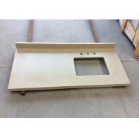 Prefab Quartz Stone Countertops Flat Edge Light Yellow Color Free Sample