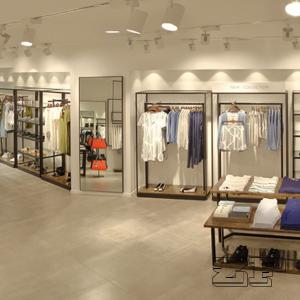 China wooden metal retail clothing display/display clothing shelf on sale