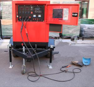 China Miller 500Amp Arc Welding Machine Genset Diesel Generator with cart , 30m welding leads on sale