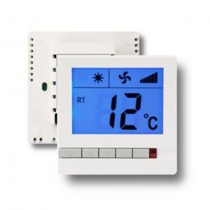 China 230V 3 Speed Digital Electric Room Thermostat For Fan Coil Units White Color on sale