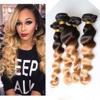 China 10 - 26 Brazilian Ombre Remy Human Hair Extensions Loose Wave 1B / 27 Blonde Hair on sale