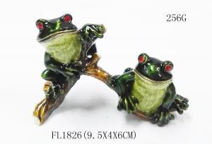 China Cute frog metal rhinestone box wholesale frog jewelry boxes custom jewelry boxes on sale