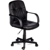 black leather computer armchair office or visitor chair
