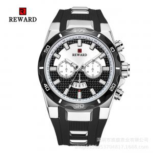 China Silicone Band Mens Stainless Steel Watches Fake Chronograph With Big Face on sale