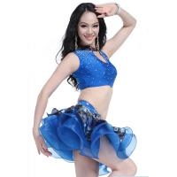 Sexy 2 Pieces Latin Belly Dance Competition Costumes With Bubble Skirt Design