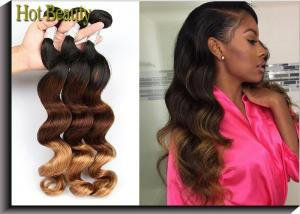 China Fashion 3 Tone Ombre Curly Human Hair Weave / Peruvian Body Wave 3 Bundles on sale
