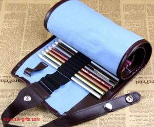 China New Blue 38 Hole Pencil Bag School Canvas Painting Stationery Roll Pencil Case Sketch on sale