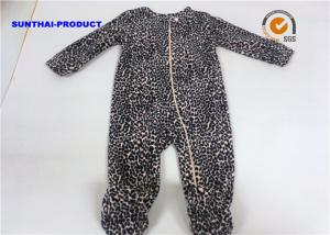 China Leopard AOP Newborn Baby Pram Suit 150D Microfleece Coil Zipper Closure Coverall on sale