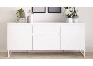 China White High Gloss Low Sideboard , Modern Dining Room Sideboard With Drawers on sale