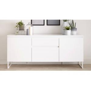 China White High Gloss Low Sideboard, Modern Dining Room SideboardWith Drawers on sale