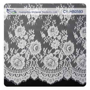 China Chantily Nylon Lace Fabric For Wedding Dresses , Scalloped Floral Lace Fabric on sale