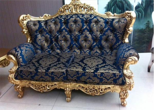 golden carved luxurious sofa set wooden frame with blue and silver rh customizedfurnitures sell everychina com