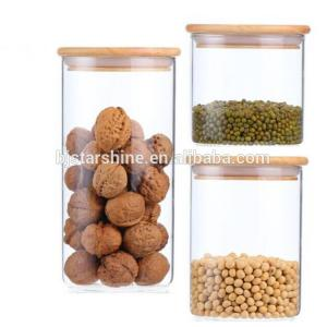 China High borosilicate 500ml small pyrex glass storage jar glass jar with bamboo lid on sale