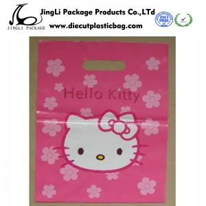 China Pink Hello kitty Die Cut Handle Bags HDPE Plastic Shopping Bags for Retail Shops on sale