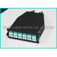 Low Loss Fiber Optic Cassette 24 F Shuttered LC to MTP 50 μm Aqua Adapter