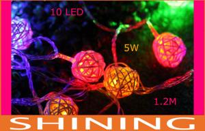 China 10pcs RGB Cotton Ball Lantern Lamps Outdoor LED String Light Battery Operated on sale