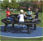 250*250*76cm Outdoor Site Amenities / Black Trendy Outdoor Picnic Tables For Parks