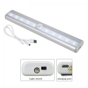 China USB Rechargable Closet Lights Motion Sensor 10 LED Portable Wireless Light Bar with Magnetic Strip Stick-on Anywhere on sale