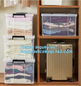 China 10L Clear Household Reusable Stack Plastic Storage Boxes, Transparent Household Handled PP Storage Box Plastic Boxes pac on sale