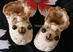 China Bear Shape Crochet Baby Shoes Brown Binding Winter Knitted Baby Booties on sale