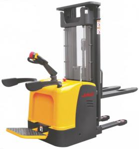 China Warehouse 1.2 ton Ride Electric Stacker Truck Narrow Aisle Forklift Stepless Speed Control Alternating Current 1200Kg on sale