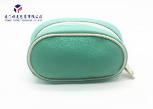 China Light Green Color Leather Make Up Bag , Zip Around Cosmetic Bag For Ladies on sale