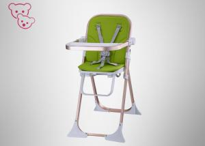 China Smiplified Green Fold Up High Chairs For Babies Steel Frame Peach Skin Fabric on sale