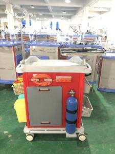 China Mute Wheel ABS Hospital Medicine Trolley Mobile Crash Cart With Trash Can Medicine Box on sale