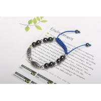 China Fashion Mens Bracelets with Black Hematites Gemstone Bead Bracelet with Blue Ropes MIM0722-1 on sale