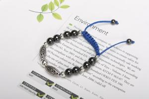 China Fashion Mens Bracelets with Black Hematites Gemstone Bead Bracelet with Blue Ropes MIM0722-1 on sale