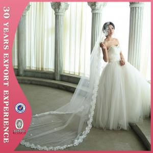China 2015 High Quality Ivory Cathedral 3M Long Lace Trim Wedding Veil on sale