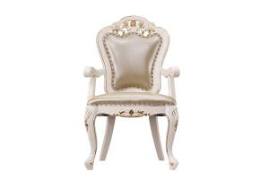 China Luxury Chairs of Ivory White in wooden for Dining room Furniture sets Armchair by Leather upholstered Classic design supplier