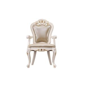 China Luxury Chairs of Ivory White in wooden for Dining room Furniture sets Armchair by Leather upholstered Classic design on sale