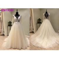 Ivory Long Sleeve Bridal Ball Gowns For Woman Boned And Hidden Bust Support