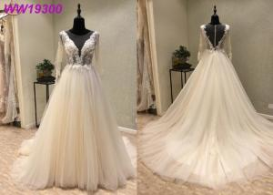 China Ivory Long Sleeve Bridal Ball Gowns For Woman Boned And Hidden Bust Support on sale