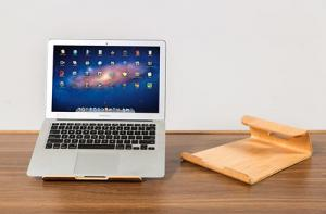 China Durable Laptop Stand Smoothly Treated Cooling Wooden Surface Built In Air Breathing Slots on sale