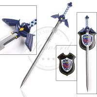 Bule Metal Zelda Hylian Master Sword And Shield Set Video Game Prop Style
