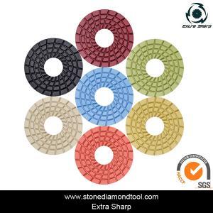 China 3 inch 80mm Resin Diamond Floor Grinding Pad Velcro Concrete Abrasive Disc on sale