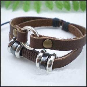 China 20cm - 28cm Ethnic Hemp Custom Leather bangles / Bracelet with pendant on sale