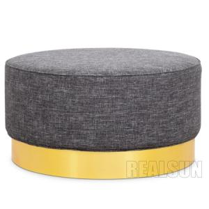 China American Style Nisco Round Upholstered Ottoman With Fabric Cover And Memory Foam on sale