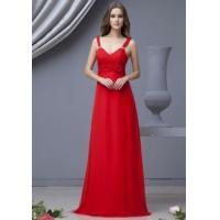 China Evening Dress/ Red Empire Waist Chiffon Evening Dress for women,ladies