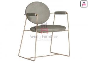 China 201 Stainless Steel Soft Armrest Dining Chair , Hotel Furniture Chairs Brown Leather on sale