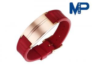 China Stainless steel silica gel metal bangle bread magnetic bracelet Unisex on sale