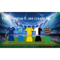 Yellow / Green / White Soccer Team Apparel , Authentic Football Jerseys
