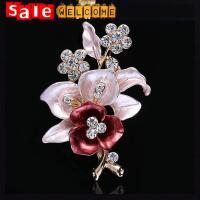 Enamel Flower Brooch Rhinetone Golden Crystal Diamond Brooch Bouquet Corsage Pin Scarf