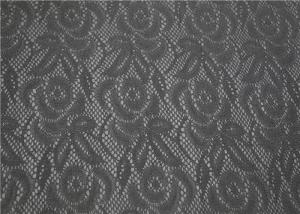 China Custom Black Lace Bonded Leather Fabric High Elasticity For Boots Bags on sale
