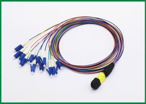 China 12 Fiber MPO to LC Fiber Optic Patch Cord, Single Mode OS2 Breakout Cable Assembly on sale