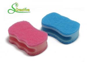 China Customized Color Cellulose Sponge Scourer With Scouring Pad Polyurethane Foam on sale