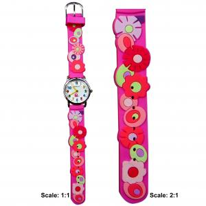 China Plastic children watch with 3D pattern strap on sale