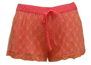 China Silky Feeling Ladies Casual Shorts , Women'S Plus Size Elastic Waist Shorts Lace Layer on sale